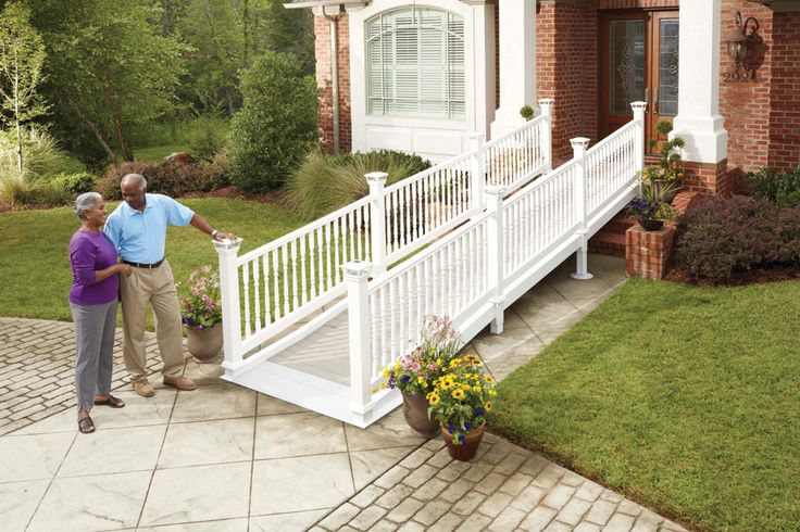 attractive+wheelchair+ramps | Wheelchair mobility ramp connects with front porch