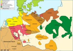 The Germanic tribes of Northern Europe in the mid-1st century AD. The Vandals/Lugii are depicted in green, in the area of modern Poland.