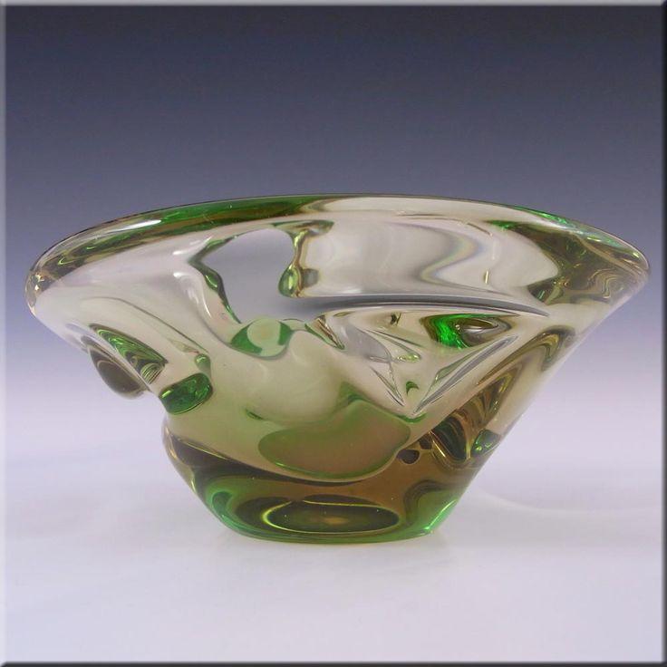Skrdlovice Czech 1960's Amber + Green Cased Glass Bowl - £26.99