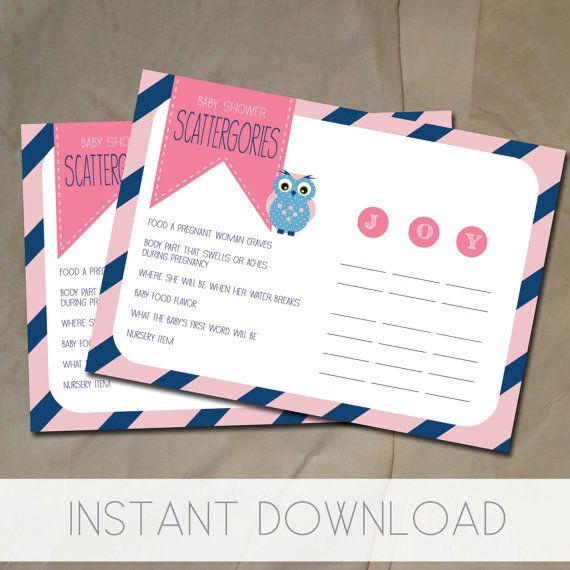Baby Shower Games Printable, Navy And Pink Owl Baby Shower Scattergories By Littleposhstudio, $5