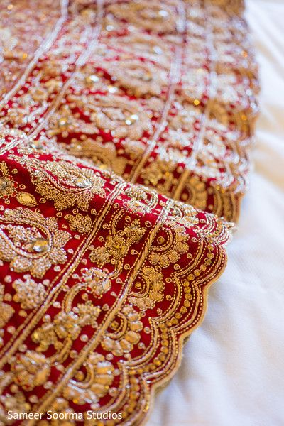 Classic red and gold lengha detail. http://www.maharaniweddings.com/gallery/photo/83879