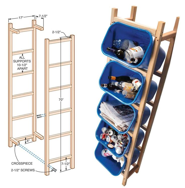 Recycling solution: Keep recycling neatly separated and off the ground with this vertical storage unit. http://www.familyhandyman.com/garage/storage/reclaim-your-garage-organize-it