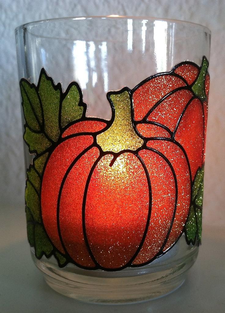 Votive candle holder using Elizabeth Craft Designs Pumpkin Peel Off sticker nr 2538 in black.
