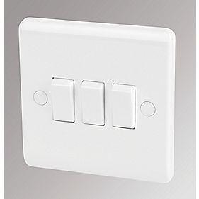 LAP 3-Gang 2-Way 10AX Light Switch White
