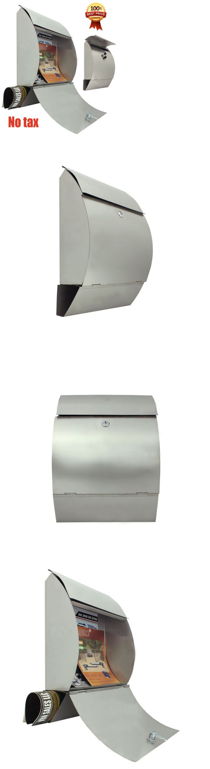 Mailbox stainless steel locking mail box letterbox postal box modern - Mailboxes And Slots 20599 Lockable Mailbox Wall Mount Stainless Steel Retrieval Door Newspaper And 2