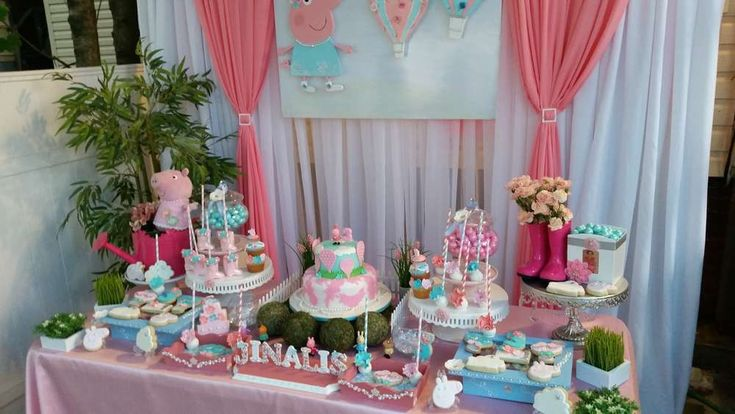Peppa Pig birthday party dessert table! See more party ideas at CatchMyParty.com!