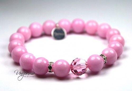 bracelet jade pink Swarovski Ag 925 10mm