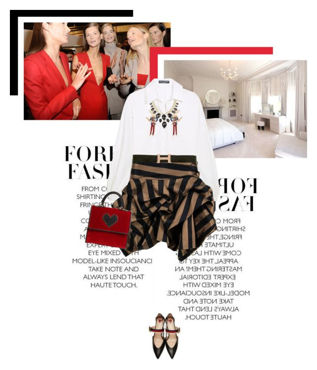 """Fashion Week Rituals"" by veronicamastalli on Polyvore featuring Dolce&Gabbana, Kelly Ewing, Gucci, Kendra Scott, Hermès and Les Petits Joueurs"