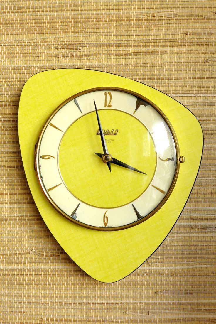 60 best kitchen wall clocks images on pinterest crafts antique wall clock kitchen clock mid century yellow formica by glowup amipublicfo Gallery