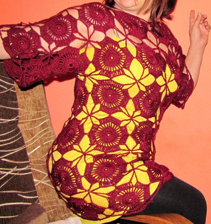 Moje robótki ręczne: Bordowa sukienko - tunika