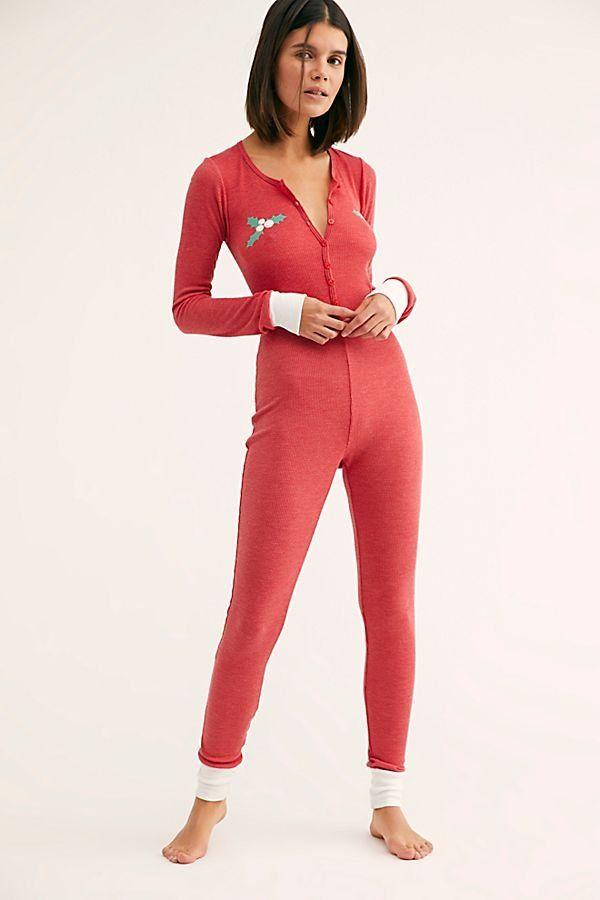 517def231227 Holiday Fox Onesie - Red Holiday Thermal Onesie Pajamas - Holiday Onesies - Onesie  Pajamas - Holiday Pajamas - Cute Christmas Pajamas for Women