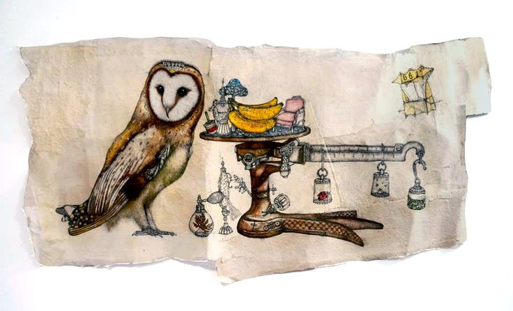 Sarah Tse, Fukuro's Castle, 2013, Watercolor and Acrylic on handmade paper, 122 x 72 cm, Reverie | Artify Gallery