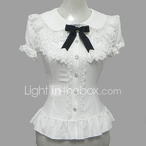 Blouse/Shirt Sweet Lolita Candy Princess Cosplay Lolita Dress White Lace Short Sleeve Lolita Blouse For Women Chiffon 2017 - $23.99
