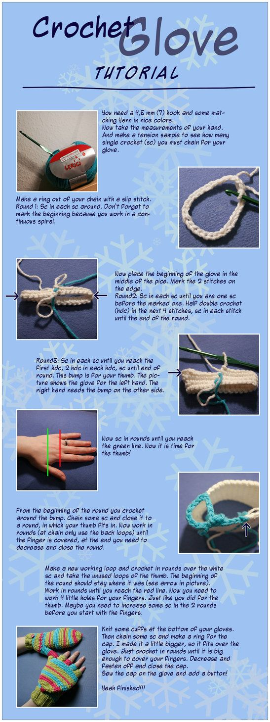 Crochet Glove Tutorial.       ♪ ♪ ... #inspiration_crochet #diy GB http://www.pinterest.com/gigibrazil/boards/