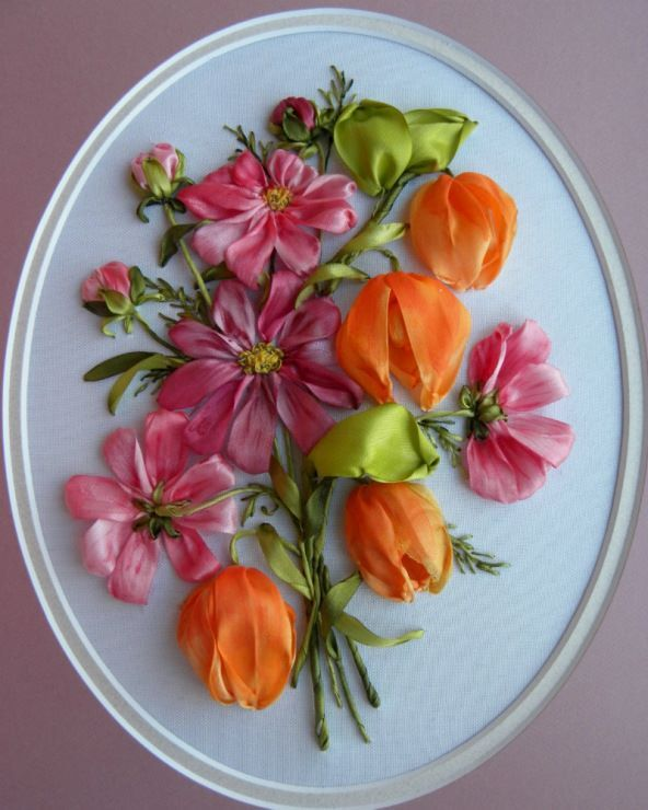 Bouquet in Orange and Pink Ribbon Flowers