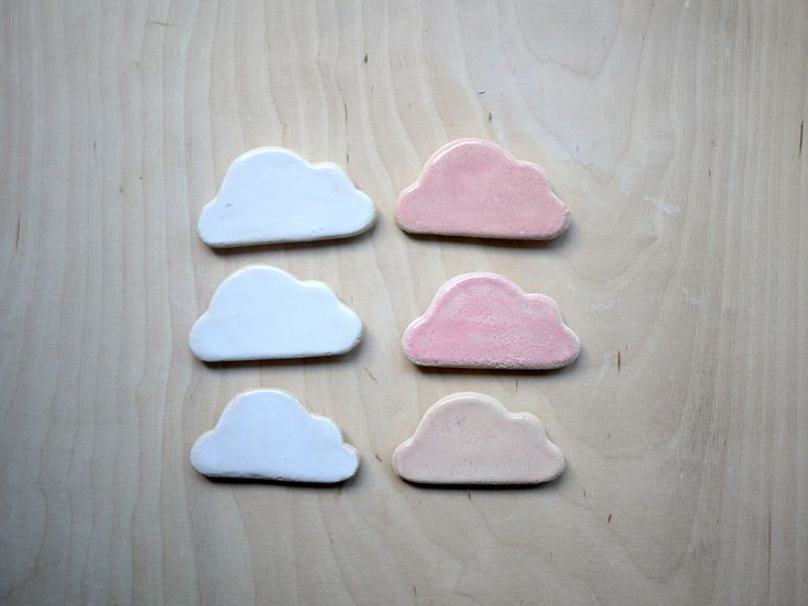 cloud magnets for kids in  white and pink