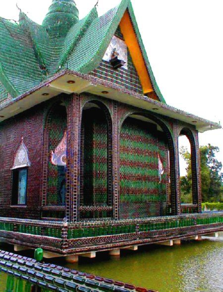 One Million Bottle Temple in Thailand.  We could make one of these at our house, but it would have to be out of beer cans.