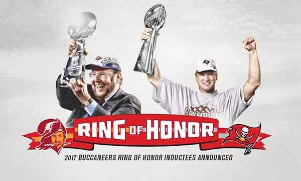 Malcolm Glazer, the Buccaneers' late owner and president, and former Head Coach Jon Gruden will be inducted into the team's Ring of Honor at Raymond James Stadium this season