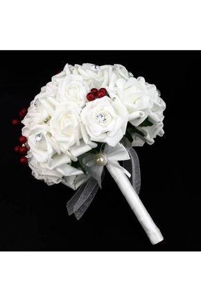 Bouquets de Noiva Cetim Bouquets de casamento Mão-amarrado Rose