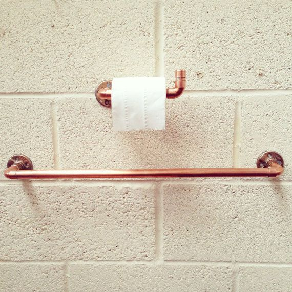 Copper Towel Rail and Toilet Roll Holder Set Industrial by ZEDHEAD
