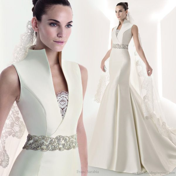 I love this high collar!! Franc Sarabia 2010 Wedding Gown Collection | Wedding Inspirasi