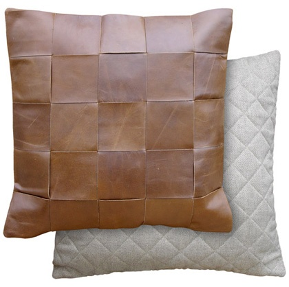 Oly Studios woven leather pillows- I like the brown one.
