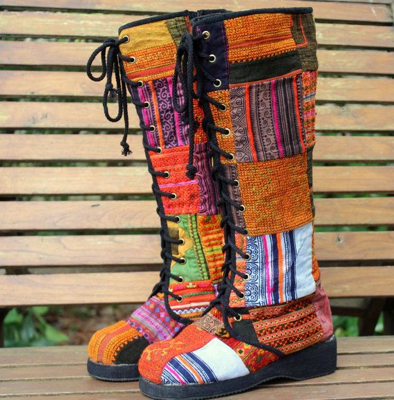 I love these boots!!  Womens Boho Boots In Colorful Vintage Ethnic Hmong Patchwork Lace Up