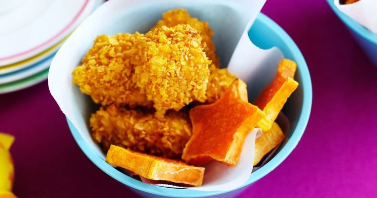Why not let the kids create their own healthy version of chicken nuggets.