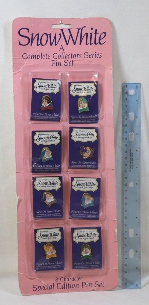 Snow White Seven Dwarfs NOW ON VIDEO PROMO Collector 8 Pin set DISNEY Special Ed