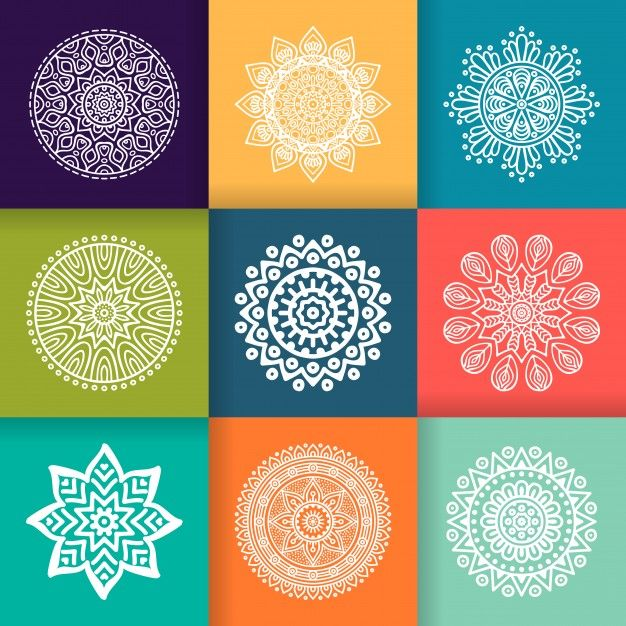 Colorful round ornament collection Free Vector
