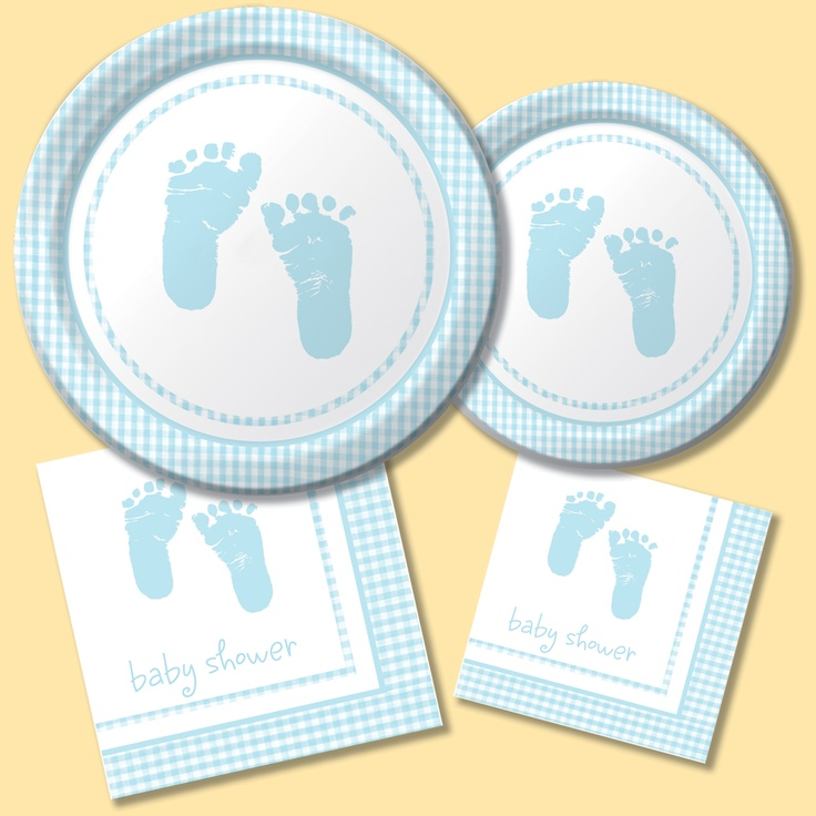 Baby Shower Plate: Plaid Baby Boy Baby Shower Party Supplies. A Celebrate For