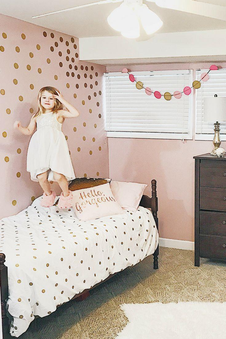 Girl's Bedroom Gold Polka Dot Pink