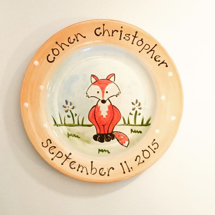 birth gift, baby gift, first birthday personalized hand painted baby fox birth plate by suzaluna on Etsy https://www.etsy.com/listing/542776324/birth-gift-baby-gift-first-birthday