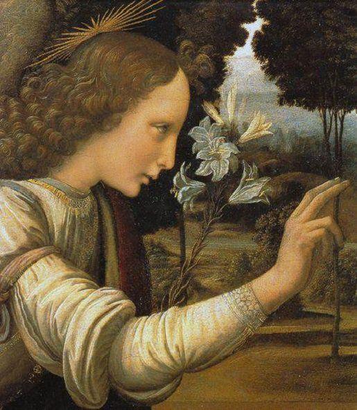 The Annunciation (detail)  Circa 1472-75 - Leonardo da Vinci