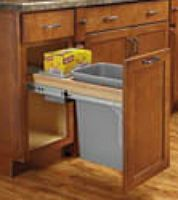 Upper Mount Trash Can & Garbage Bag Storage in Pullout Cabinet
