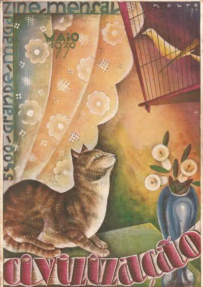 Capa de Roberto Nobre para o Magazine Civilização de Maio de 1930. O amor do gato pelo canário é comovente:)