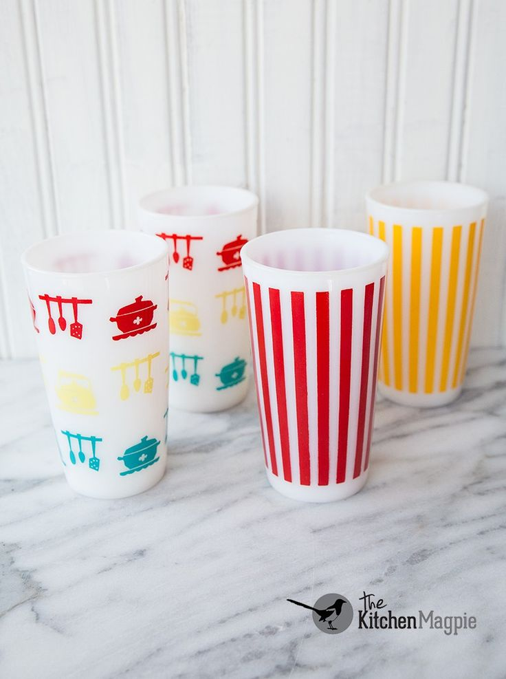 Hazel Atlas KitchenAids Tumblers And Striped From Personal Collection Click The Pic To See Her Entire Vintage Glass