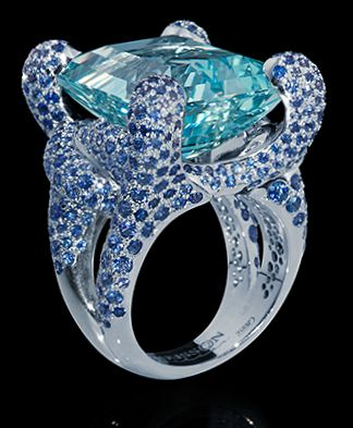 Mousson Atelier Aquamarine ring accented with blue sapphires