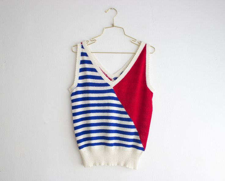 Vintage Knit Tank, Red Blue White Knit Vest, Geometric Flag Colors Sweater size Medium by PaintYourWagonShop on Etsy