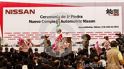 With an investment of two billion dollars, Nissan Motor Company built in Aguascalientes, Mexico a second automotive production plant, which this July 9, 2012 was the first stone. The plant will start assembling cars in December 2013. Mexican folk dances.
