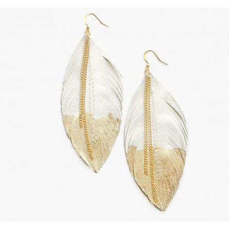 Leather Feather Earrings in Ivory White with Gold tips