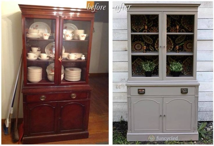 Beige China Cabinet Makeover by FunCycled http://funcycled.com/projects/beige-china-cabinet-makeover/ #chinacabinet #funcycled #makeover #repurposedfurniture #paintedfurniture #interiors #interiordesign #furniture