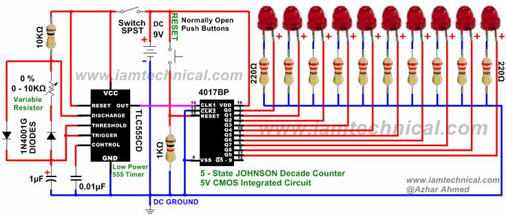 555 Timer Clock 4017BP Decade Counter With Variable Resistance at 0% | IamTechnical.com