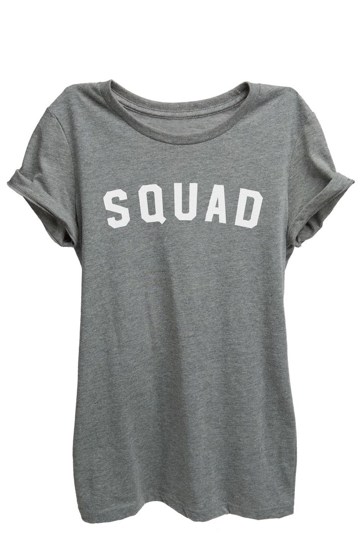 """""""SQUAD"""" is featured on a crew neck, short sleeves and a new modern, slim or relaxed fit for effortless style. Printed on quality constructed material, these shirts are perfect with a pair of jeans or"""
