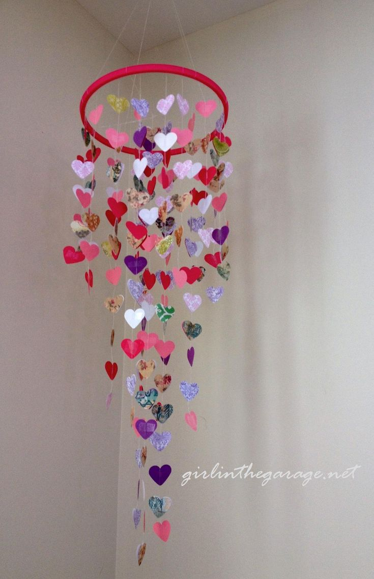 DIY mobile. Could do many different shapes including my favorite - butterflies. Also can vary the length and number of strands for different looks.