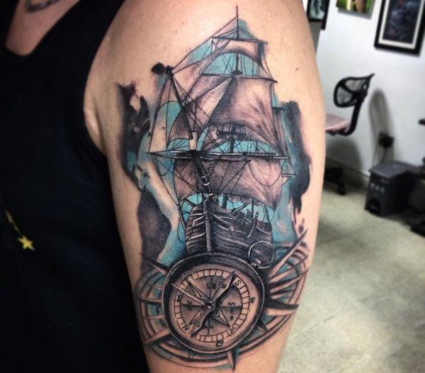 Ship Tattoos And Their Meanings Kompass Tattoo Männer ärmeltätowierungen Nautischer Tattoo ärmel
