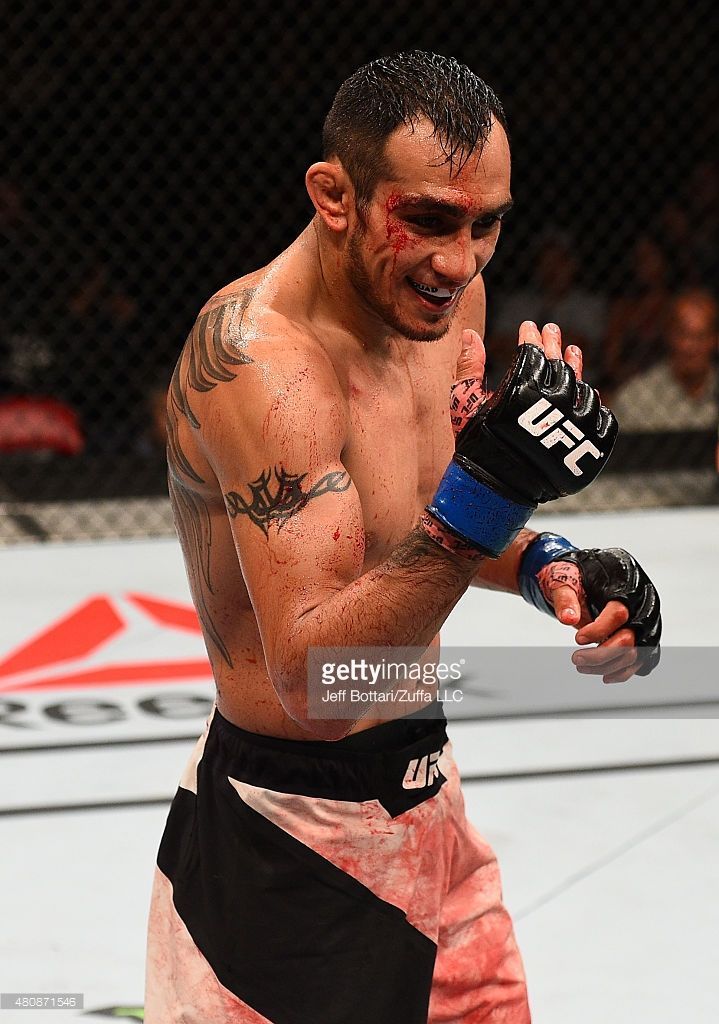 Tony Ferguson taunts Josh Thomson in their lightweight bout during the UFC event at the Valley View Casino Center on July 15, 2015 in San Diego, California.