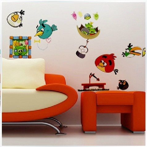 18 best images about kids tv room on pinterest for Angry bird wall mural