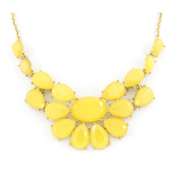 Pretty Gold-tone Bright Yellow Statement by JuliesJewelryStore
