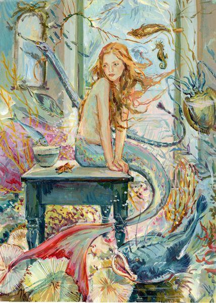 Mermaid in her underwater home - Claire Fletcher Artist